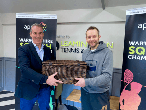 Our company director. Alan Hartin, handing over the luxury hamper to the winner of our prize draw.
